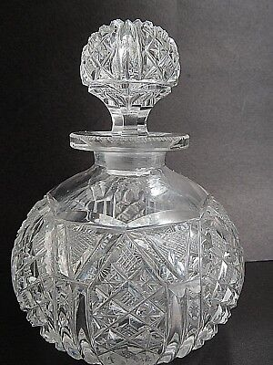 Antique Exquisitely cut crystal globe perfume bottle with stopper to match
