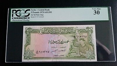 Syria 1973 P-94d  5 Syrian Pounds very rare VF PCGS 30