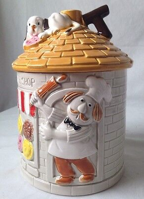 Vintage Cookie Shop Bakery Cookie Jar with Chef and Puppy Dog Ceramic