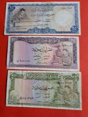 Syria ,Set.... 25  P-96 c  ,10 P-95c, 5  p-94d pounds, 1973, Rare