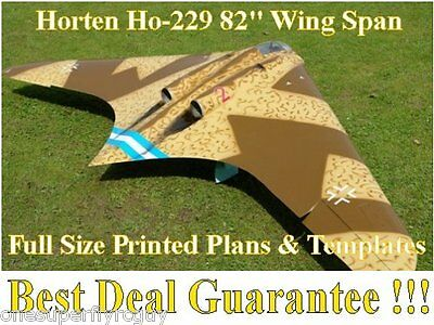 """Horten Ho-229 1/8 Scale 82"""" WS RC Airplane Full Size PRINTED Plans & Templates"""