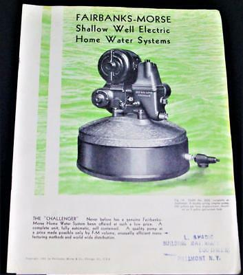 Fairbanks Morse Sales Catalog Shallow Well Electric Home Water Systems 1932