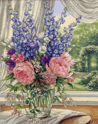 "DIMENSIONS GOLD COLLECTIONS ""PEONIES AND DELPHINIUMS""CROSS STITCH KIT  Kreuzstic"