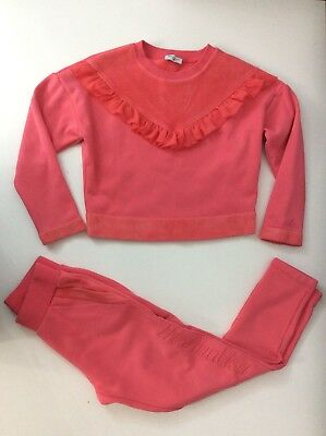 Monnalisa Girls Tracksuit, Size Age 8 Years, Pink, Jumper & Bottoms, Vgc