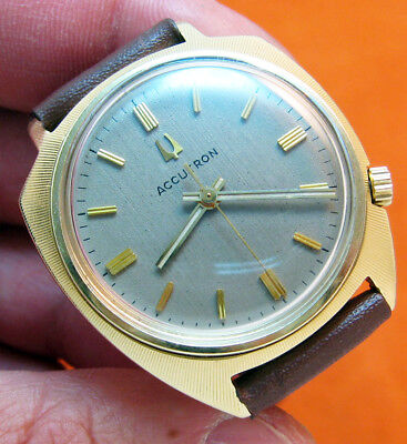 Rare Serviced Vintage 218 Accutron Heavy Gold Plate Tuning Fork Mens Watch N2