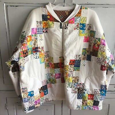 Vintage Women's Handmade Quilted Patchwork Jacket Zippered Front Quilt Coat L XL