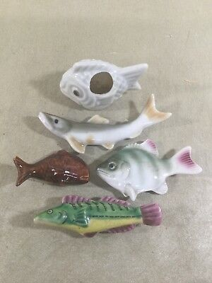 Antique Hand Painted Porcelain Fish Chopstick Rests Mixed Set Of 5 Multi Color