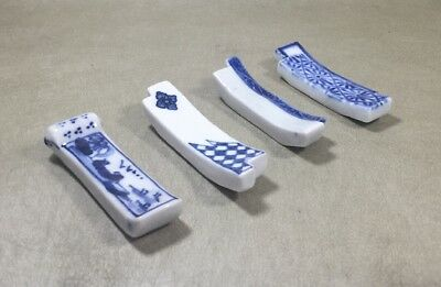 Set Of 4 Antique Porcelain Chopstick Holders Blue White Painted Multi-Design  #3