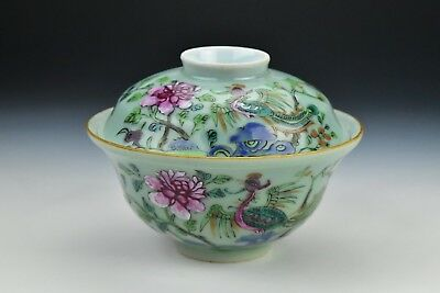 Antique Chinese Porcelain Celadon Famille Rose Covered Rice Bowl Seal Mark