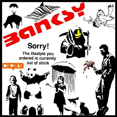 Banksy Wall Sticker Multi-listing Highest Quality Vinyl Home Decor Art Decal UK