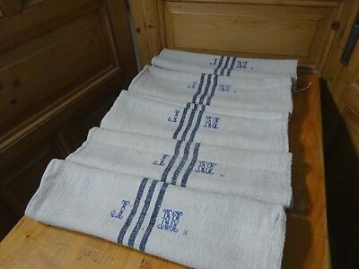 Antique European Feed Sack GRAIN SACK JM Monogram # 10622