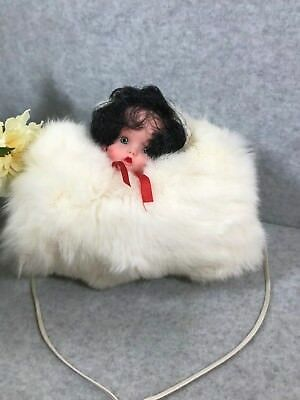 Antique Vintage Childs Rabbit Fur 50's  Muff Hand Warmer With Doll Head