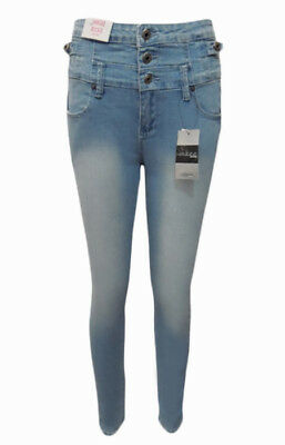 Wakee Ultra High Rise 3 Button Jean In Light Blue.