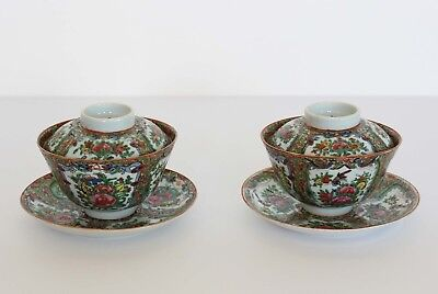 Antique Chinese Export Porcelain PAIR OF BOWLS & COVERS with Saucers Rose Canton