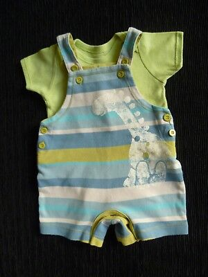 Baby clothes BOY 0-3m outfit short dungarees/green bodysuit SS dinosaur SEE SHOP