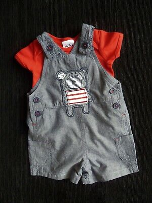 Baby clothes BOY 0-3m outfit thin,short bear dungarees/red bodysuit SS  SEE SHOP