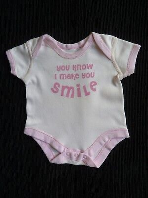 "Baby clothes GIRL newborn  0-1m soft pink ""smile bodysuit short sleeve SEE SHOP!"