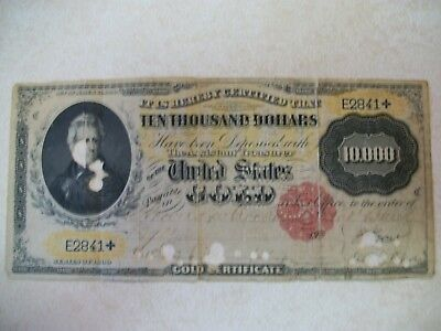 Series Of 1900  Ten Thousand Gold Certificate 10,000 Note United States Gold
