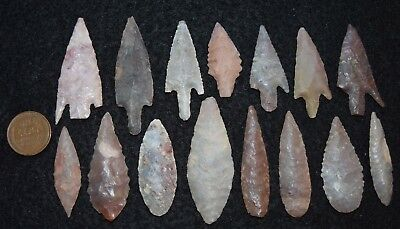 15 better, diverse Sahara Neolithic points/tools, some color and size