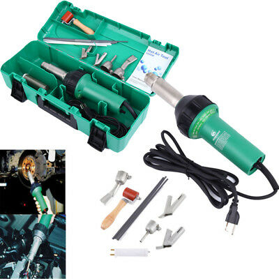 1600W Hot Air Torch Plastic Welding Gun Heat Pistol Nozzle Rods w/ Protect Case