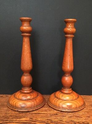 Early C20th English Oak Turned Candlesticks