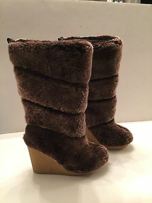 373a14014d045 TORY BURCH KIKI Boots Wedge Shearling Sheepsking Fur Sz 7 New ...