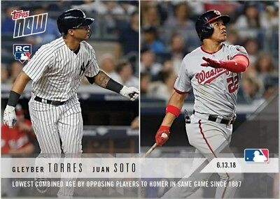 2018 Topps NOW MLB 323 Gleyber Torres Juan Soto Lowest Combined Age HR Game (RC)