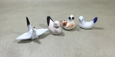 Set Of 4 Antique Porcelain Painted Bird Shaped Chopstick Holders
