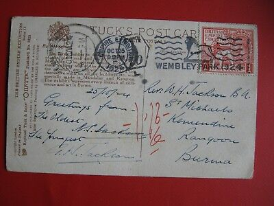 Old Tuck's Oilette British Empire Ex Postcard With Postmark Wembley Park 1924