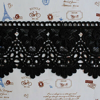 1Yard Black Crochet Embroidered Cotton Blend Lace Trim Dress Curtain Sewing DIY
