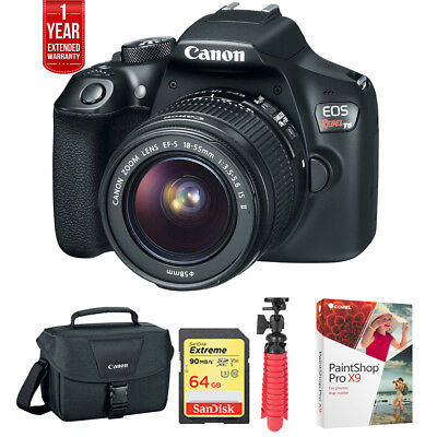 Canon EOS Rebel T6 DSLR Camera w/ 18-55mm + 75-300mm Dual Zoom Kit + 64GB Bundle
