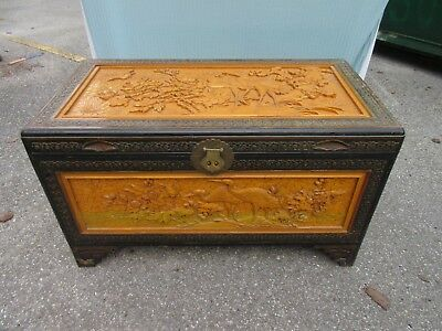 Vnt Asian Carved Rosewood wood chest trunk coffee table bird water fowl Chinese