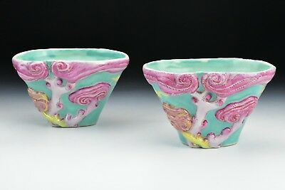 Pair Antique Chinese Porcelain Famille Rose Libation Cups
