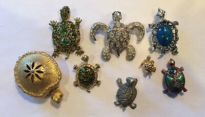 Beautiful Vintage Jewelry Lot of 6 Rhinestones/Turtle Brooches Pins. Box Pewter