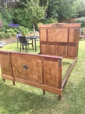 oak and mahogany double bed with ornate castings