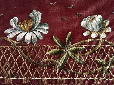 Antique Victorian Bead Work and Wool Work Panel