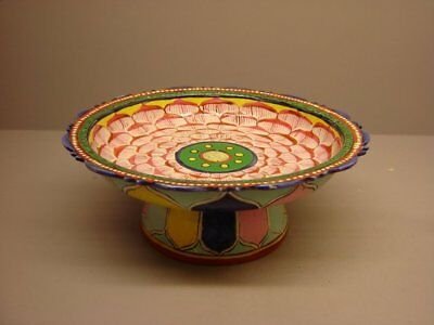 Antique Thai Benjarong hand painted stem dish