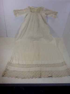 Antique 1892 Baby Christening Baptism Long Gown with Lace