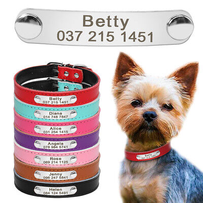 Personalized Leather Dog Collar ID Name Tag Free Engraved Collar Chihuahua XS-M