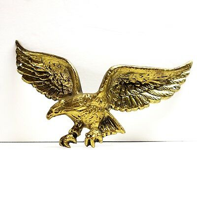 """Vintage Solid Brass 9"""" American Bald Eagle Wall Hang Hanging Plaque Wings 7037"""