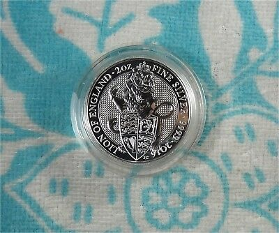 2016 Queen's Beast LION 2 oz 999 Silver Coin Mint Sealed in Piedfort Capsule