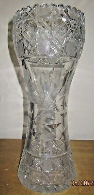 """ANTIQUE BEAUTIFUL FLARED TOP LEADED CUT GLASS VASE 12"""" tall,heavy, MINT! WOW!!"""