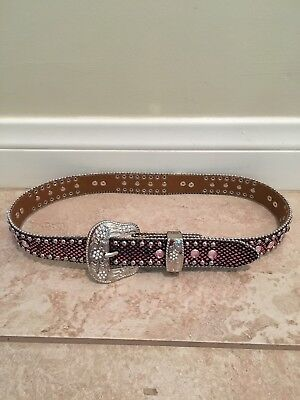 Girls Youth Western Bling Belt Pink/Black With Horses 24-28 Inches