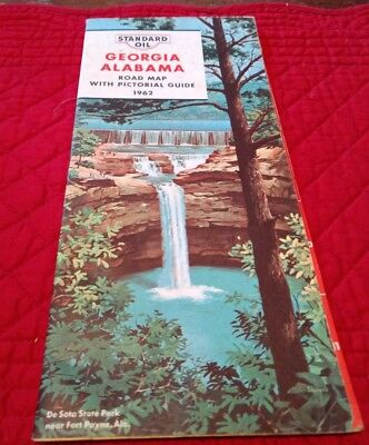 Vintage Standard Oil Georgia/Alabama Road Map from 1962 with Pictorial Guide