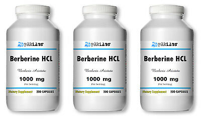 Berberine HCL 1000mg High Potency 1-3 BIG Bottles 200/400/600 Capsules USA SHIP