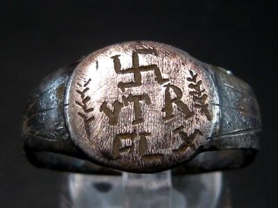 Extremely Rare *卐 Vtere Felix* Roman Military Silver Ring+++