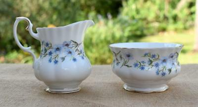 Royal Albert Bone China Blue Floral Flowers Gold Trim Sugar Bowl & Creamer Set