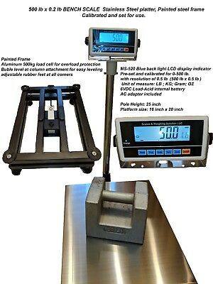 Large Bench Scale MS-520 500 Shipping Floor Industrial 500lb x0.2 lb LB/KG/G/OZ