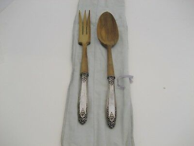 Vintage Silverplate and Wood Fork and Spoon set