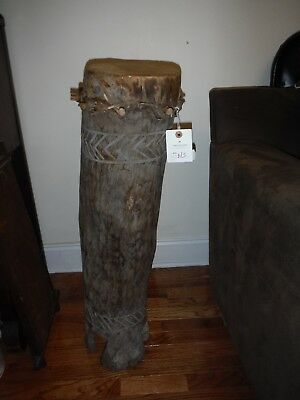 African Hand Carved Wood Drum